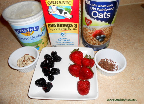 Strawberry Blackberry Oatmeal Ingredients