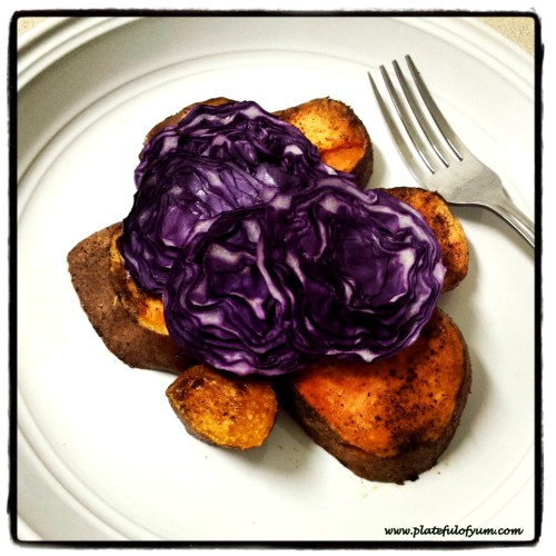 Baked sweet potato with cabbage
