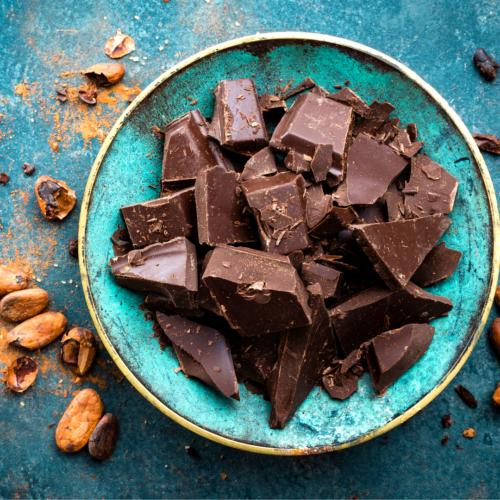A bowl of dark chocolate pieces